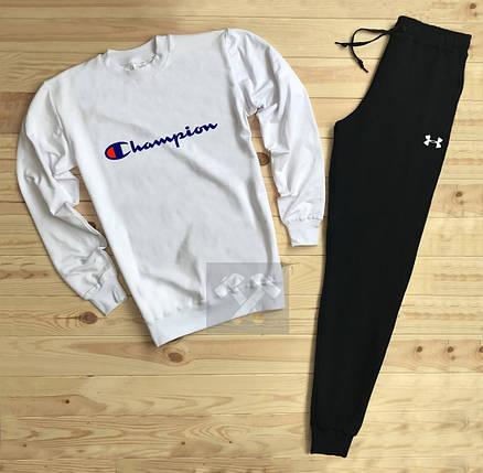 Спортивный костюм без молнии Champion черно-белый топ реплика, фото 2