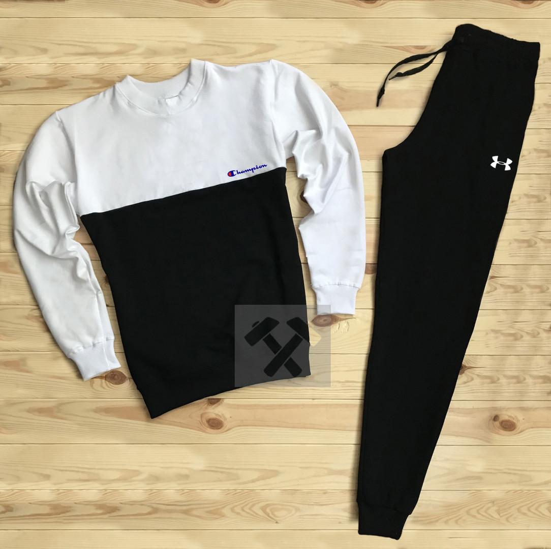 Спортивный костюм без молнии Champion бело-черный топ реплика