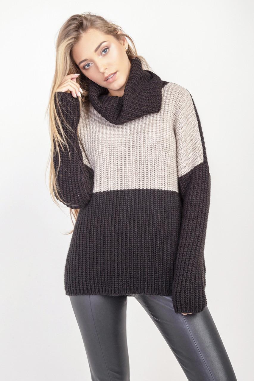 Стильный женский свитер цвет черный-лён