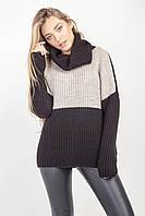 Стильный женский свитер цвет черный-лён, фото 1