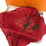 Платок, шаль Луи Витон красный с люрексом, фото 3