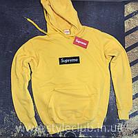 Худи Supreme с Черной Вышивкой • Желтая кенугру • Живые фото