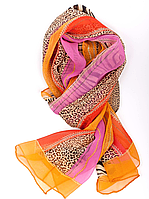 Шарф крепдешин Venera оранжевого цвета 176х50