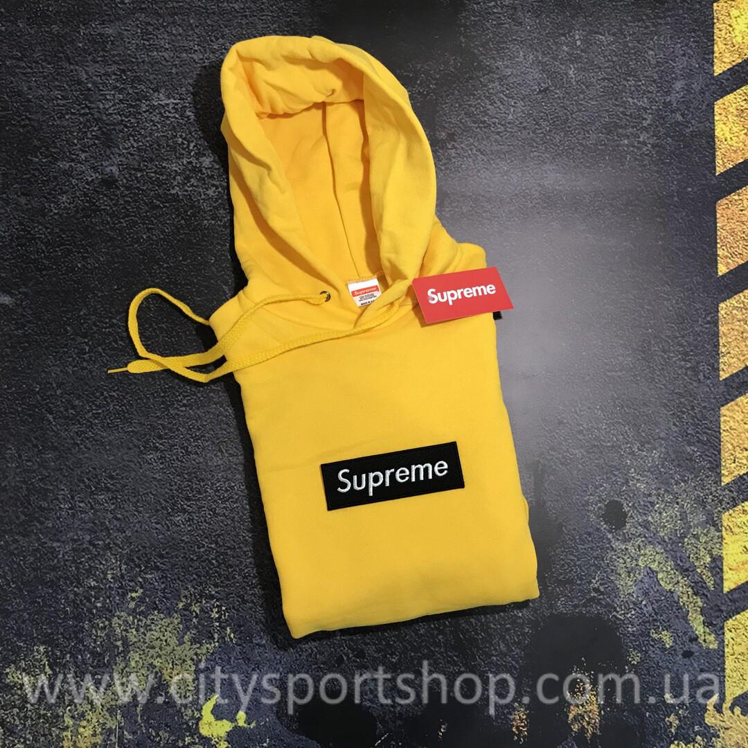 Supreme худи с Черной Вышивкой • Желтая толстовка • Оригинальные бирки