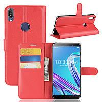 Чехол Asus Zenfone Max Pro (M1) / ZB601KL / ZB602KL книжка PU-Кожа красный