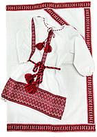 Вышитое платье на крещение с тканой нашивкой