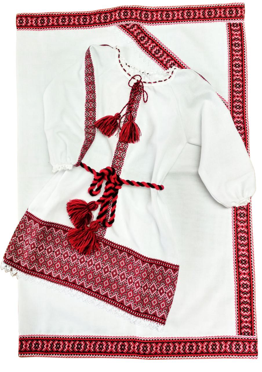 Вишита сукня на хрещення із тканою нашивкою