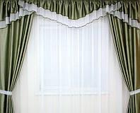 """Готовий шторний комплект """"Аліса"""" (зелений) 3 м, фото 1"""