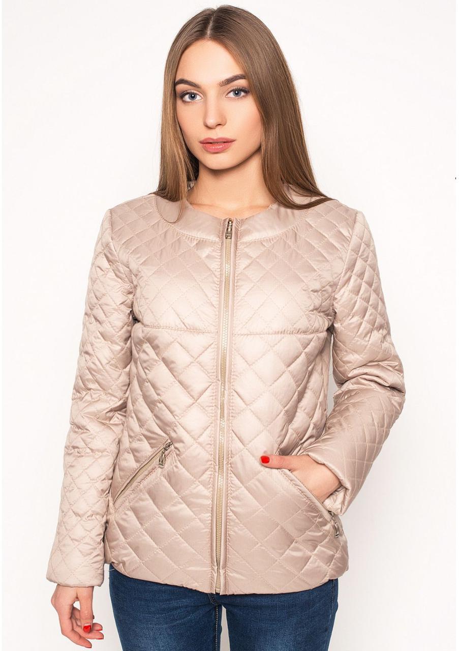 Куртка демисезонная женская стеганая, бежевая