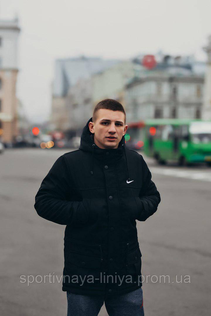 Мужская черная зимняя куртка (парка) Nike (реплика)