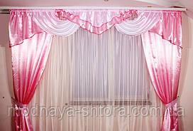 """Готовый шторный комплект """"Альберта"""" атлас+шторы (розовый), 3 м"""