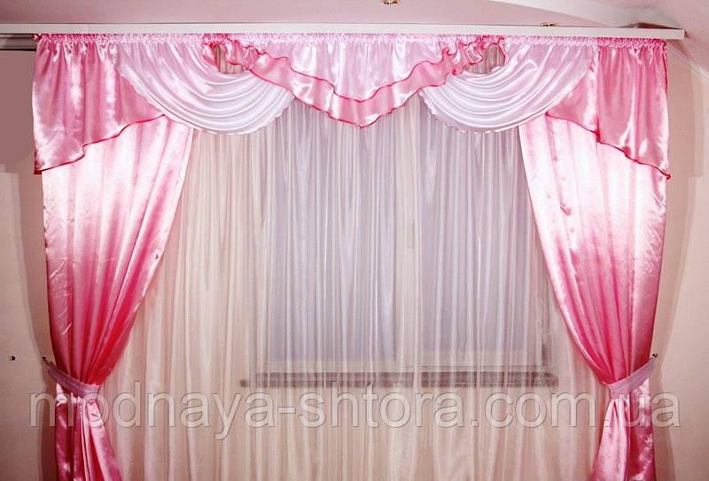 "Готовый шторный комплект ""Альберта"" атлас+шторы (розовый), 3 м, фото 1"
