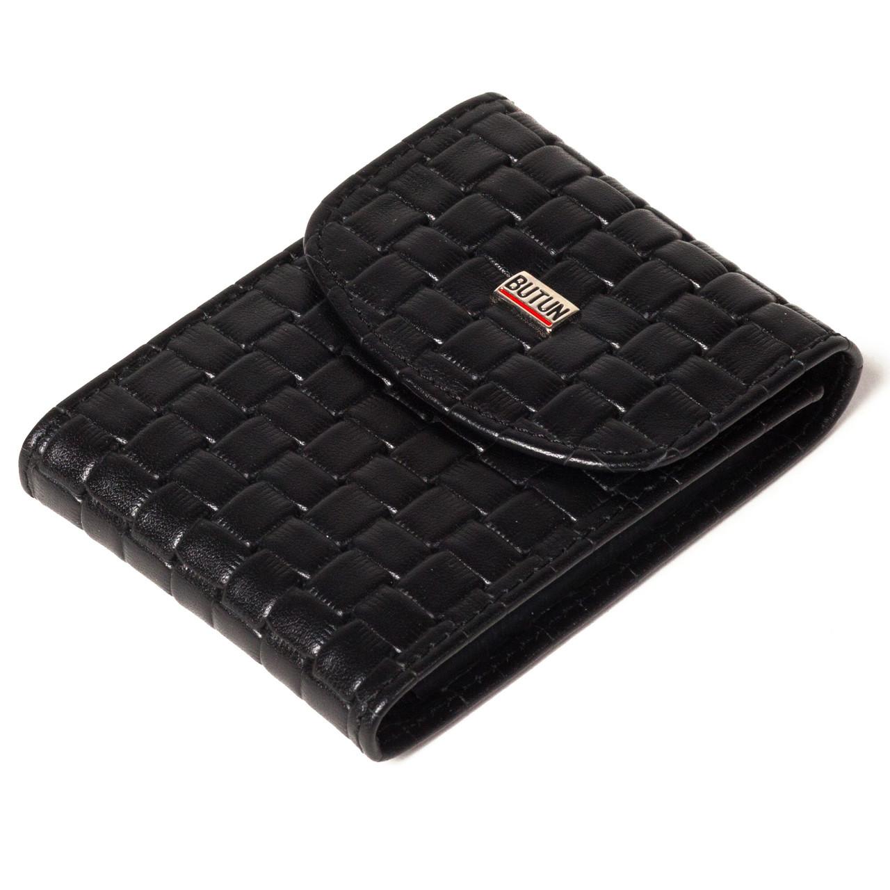 "Визитница кожаная ""плетение"" черная Butun 833-062-001"