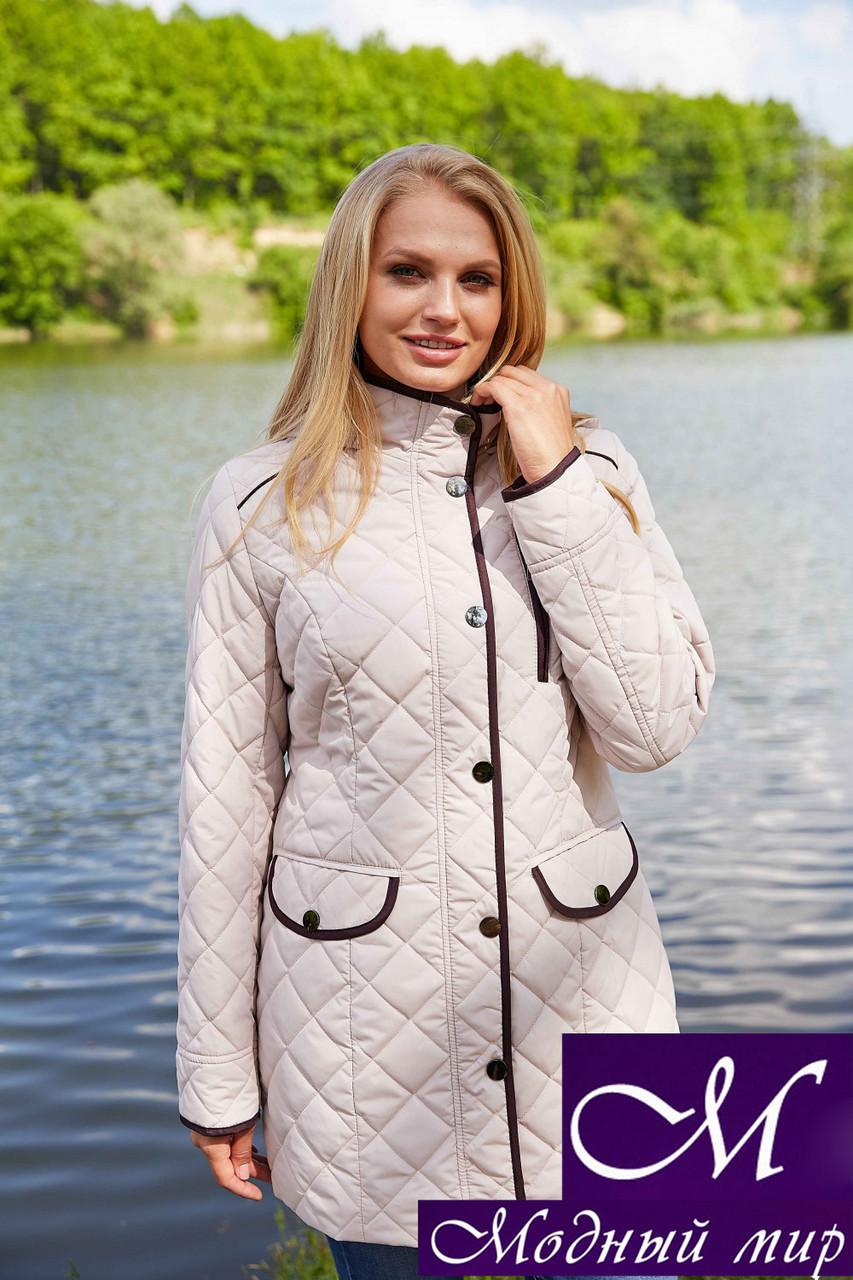 Женская стильная куртка большого размера (р. 48-66) арт. Адена крем 14
