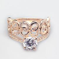 Золотое кольцо корона с фианитами. КП1694