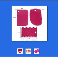 Шпатель скребок кондитерский фигурный для воланчиков из 3 шт набор
