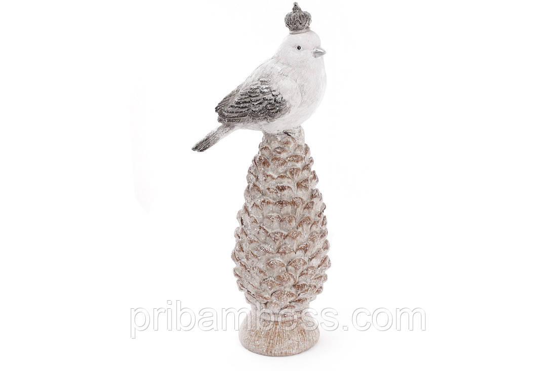 Статуетка Птах на шишці, колір - білий, 30см