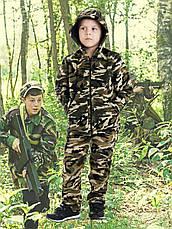 Костюм детский Лесоход для мальчиков хаки камуфляж Вельвет на флисе, фото 3