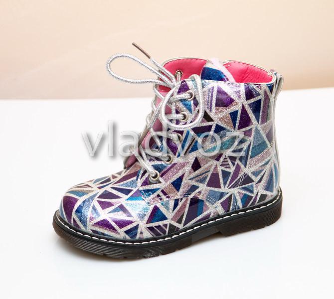 Детские демисезонные ботинки для девочек абстракция 23р.