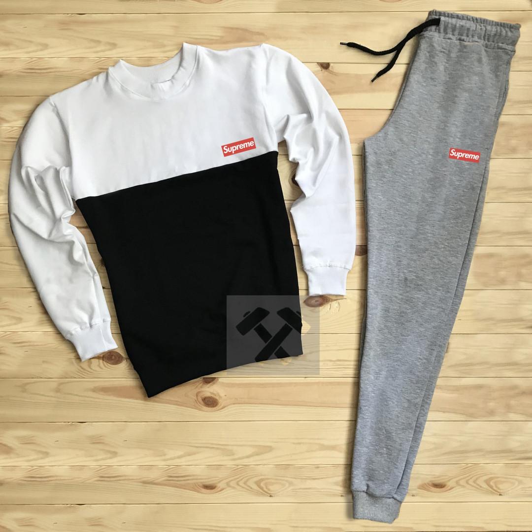 Спортивный костюм без молнии Supreme бело-черный топ реплика