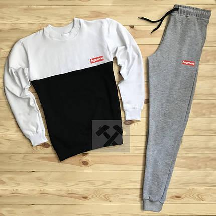 Спортивный костюм без молнии Supreme бело-черный топ реплика, фото 2