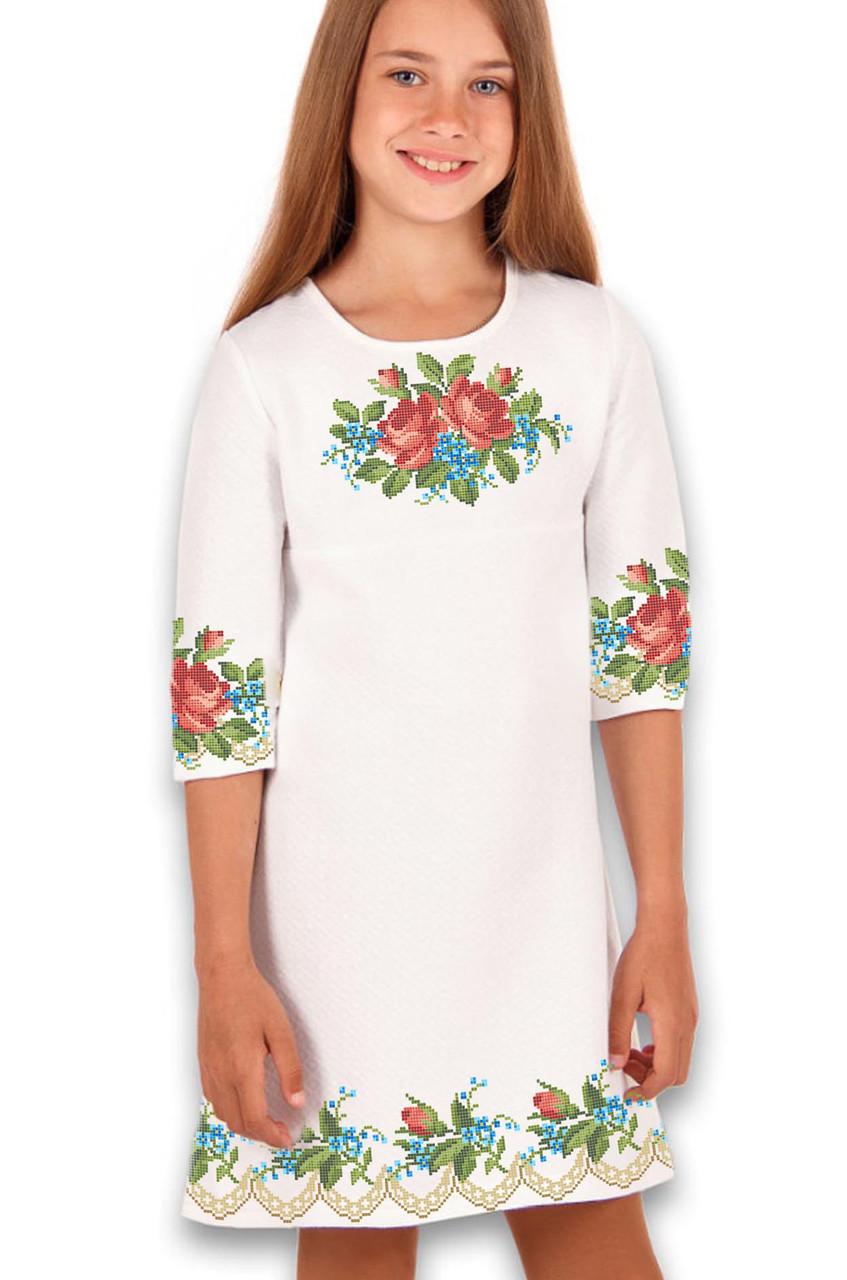 Заготовка дитячого плаття чи сукні для вишивки та вишивання бісером Бисерок  «Трояндочки» (ДП-63)