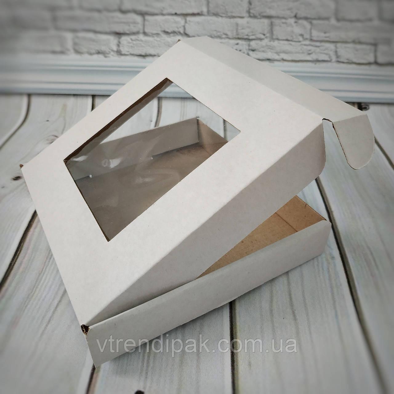 Коробка для пряника 155*152*26 біла з вікном (плівка ПВХ)