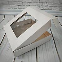 Коробка для пряника 155*152*26 біла з вікном (плівка ПВХ), фото 1