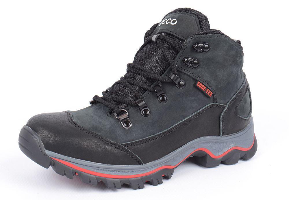 Ботинки зимние кожаные на меху Ecco Gore-tex черные 438072d2315f8