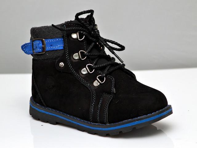 Детские зимние кожаные ботинки для мальчика черные 29р.