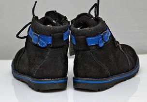 Детские зимние кожаные ботинки для мальчика черные 29р., фото 2