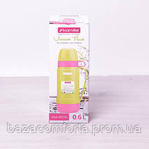 Термос 2076 пластиковый со стеклянной колбой Kamille 600мл салатовый с розовым, фото 3