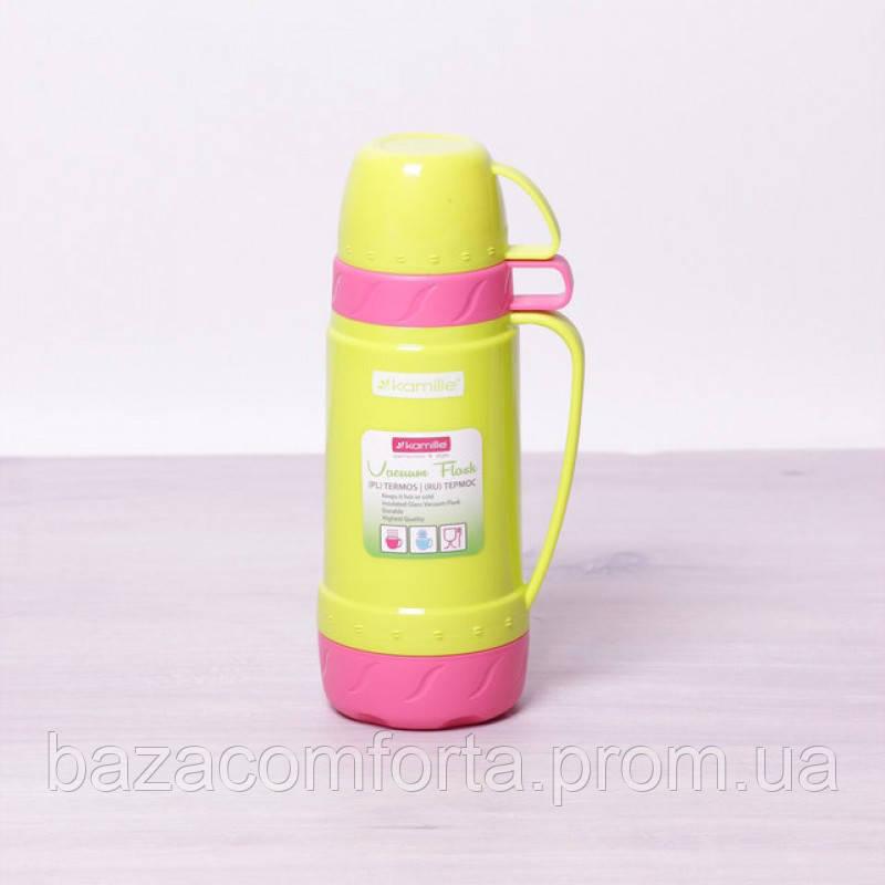 Термос 2076 пластиковый со стеклянной колбой Kamille 600мл салатовый с розовым