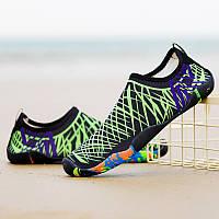 Обувь для пляжа и кораллов Diving shoes салатовые полоски 45 (290mm) as345bg exp, фото 1