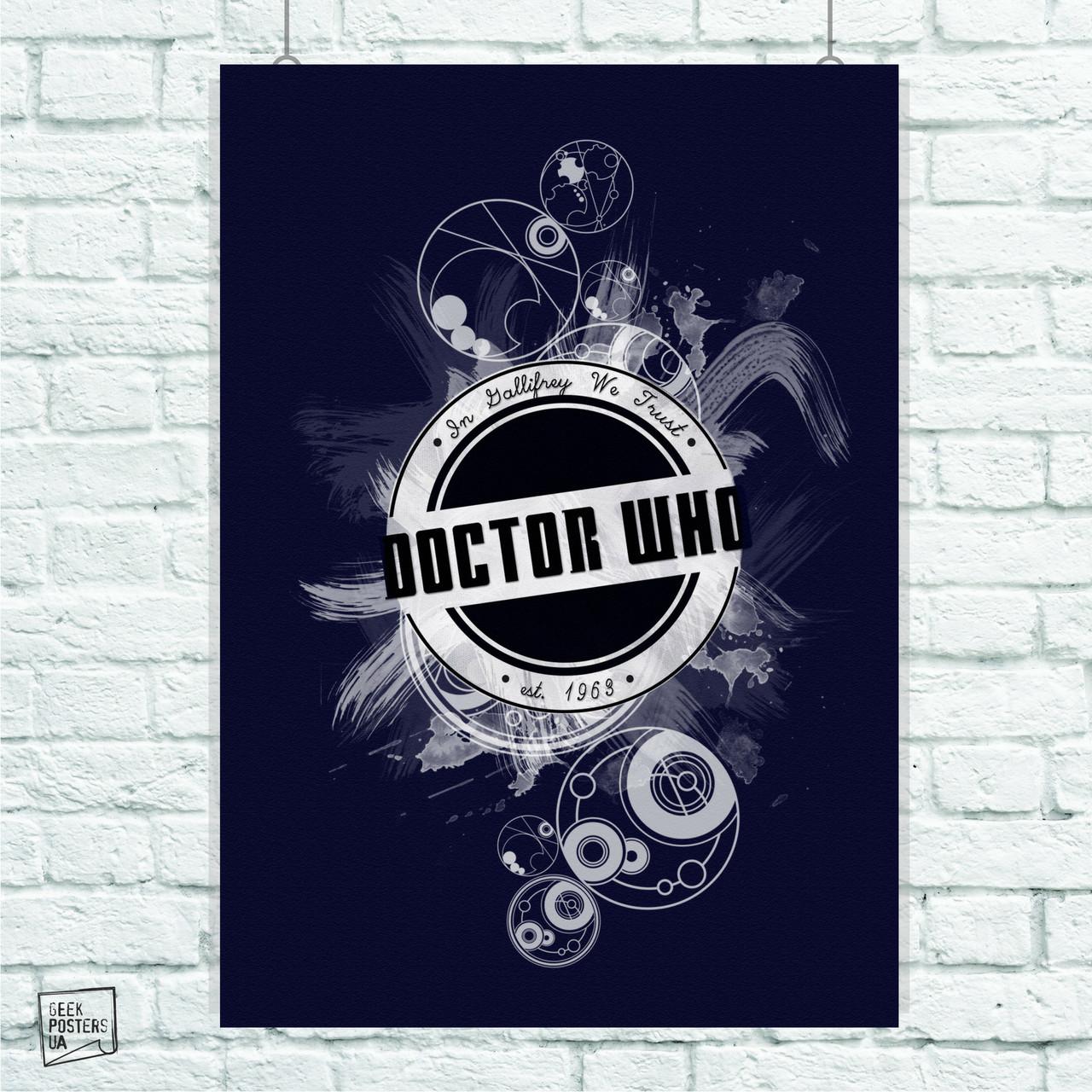 Постер Dr.Who, Доктор Кто, лого. Размер 60x42см (A2). Глянцевая бумага