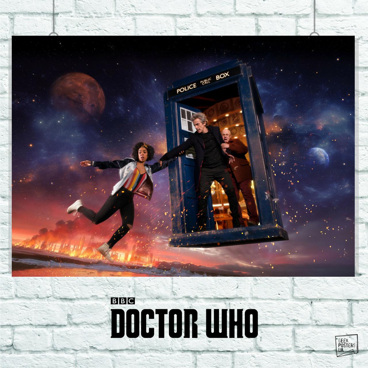 Постер Dr.Who, Доктор Кто, 12-й Доктор и друзья. Размер 60x42см (A2). Глянцевая бумага