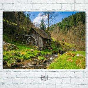 Постер Мельница в лесу. Размер 60x42см (A2). Глянцевая бумага