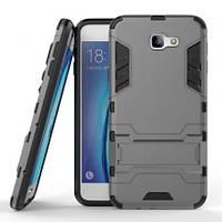 Ударопрочный чехол-подставка Transformer для Samsung G610F Galaxy J7 Prime с мощной защитой корпуса Металл / Gun Metal