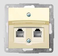 Розетка двойная: телефон+компьютерная неэкранированнная  Fiorena белая/слоновая кость (в сборе)