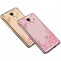 Прозрачный чехол с цветами и стразами для Xiaomi Redmi 4 с глянцевым бампером Розовый золотой/Розовые цветы