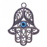 Подвеска Хамса с глазком,цвет металла серебро,65мм