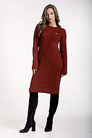 Платье вязаное приталенное женское цвет терракот., фото 1