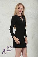 Модное платье со шнуровкой черное 124/05, фото 1