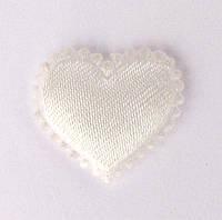 Сердце 1,8*2 см (материал сатин) цвет молочный