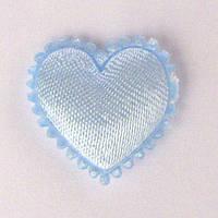 Сердце 1,8*2 см (материал сатин) цвет голубой