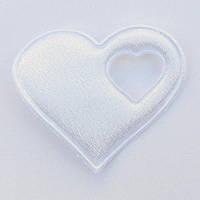 Сердце 4*4,3 см (материал сатин) цвет белый
