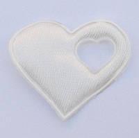 Сердце 4*4,3 см (материал сатин) цвет молочный