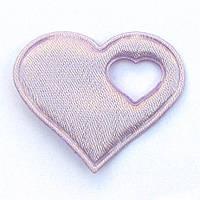 Сердце 4*4,3 см (материал сатин) цвет сиреневый