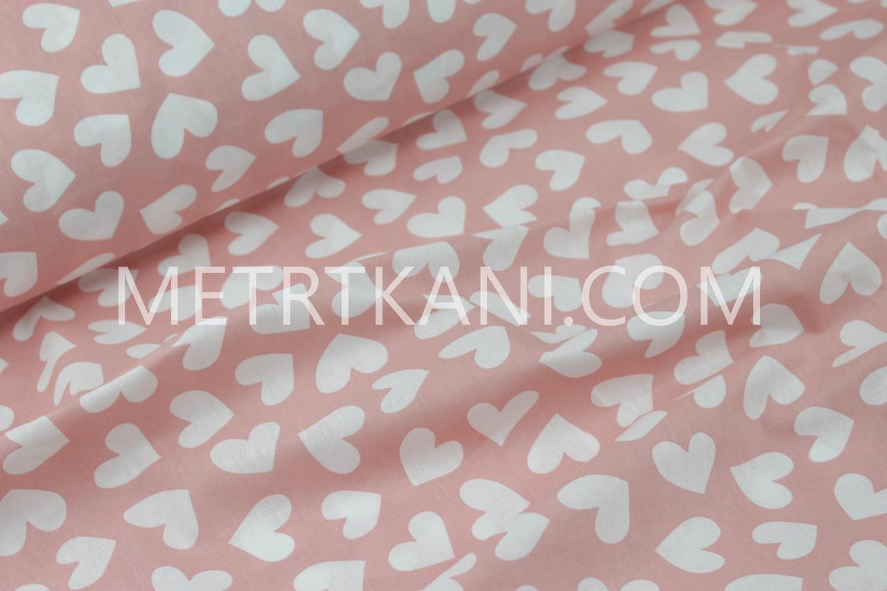 Бязь постельная разносторонние сердца на коралловом 220 см135г/кв.м №6446441