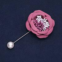 """Брошь-булавка с цветком из ткани """"Роза фрезовая"""" d-4,5см L-9см"""